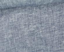 Leinen - Baumwoll - Twill - Fischgrätmuster - Blau