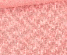 Leinen - Baumwoll - Twill - Fischgrätmuster - Rot