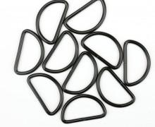 10 D-Ringe - 30mm - Taschenring - Metall - Schwarz