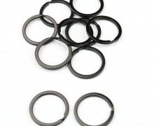 10 breite Schlüsselringe - Schlüsselanhänger - Rund - Schwarz