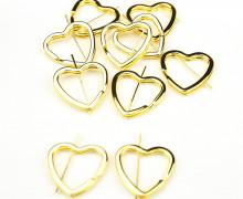 10 breite Schlüsselringe - Schlüsselanhänger - Herz - Gold