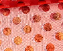 Mesh-Tüllstoff - Mit Folie Bedruckt - Punkte - Rot
