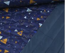 Steppstoff - Doubleface - Wattiert - Dreiecke - Dunkelblau