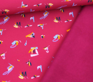 Softshell - Fleece - Creative Pattern - Fuchsia/Beere