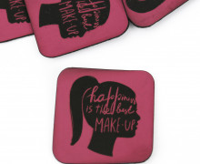 1 XXL KUNSTLEDER LABEL - Pink - happiness is the best MAKE UP