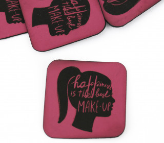 1 XXL KUNSTLEDER LABEL – Pink – happiness is the best MAKE UP