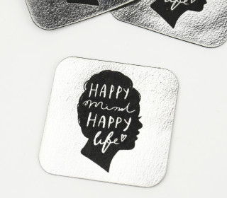 1 XXL KUNSTLEDER LABEL - Silber - HAPPY mind HAPPY life