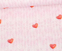 Sommersweat - Bio-Qualität - Cozy Knit - Hearts - Weiß/Rosa - abby and me