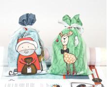 DIY-NÄHSET - 2 Weihnachtsbeutel - Geschenkbeutel - Weihnachtsmann - Formenfroh - abby and me