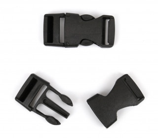 2 Steckschnallen - 15mm - Kunststoff - Schwarz