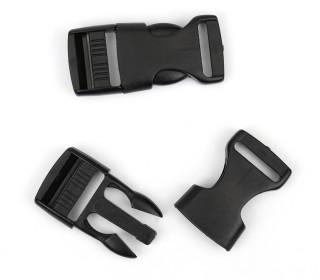 2 Steckschnallen - 20mm - Kunststoff - Schwarz