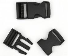 2 Steckschnallen - 25mm - Kunststoff - Schwarz