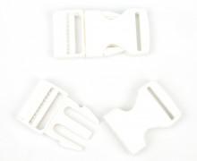 2 Steckschnallen - 25mm - Kunststoff - Weiß