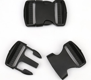2 Steckschnallen - 40mm - Kunststoff - Schwarz