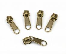 1 Set aus 5 Zippern - Für Endlosreißverschlüsse - Breit - Altmessing (033)