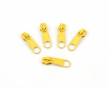 1 Set aus 5 Zippern - Für Endlosreißverschlüsse - Schmal - Gelb (111)