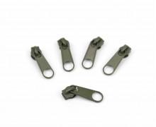1 Set aus 5 Zippern - Für Endlosreißverschlüsse - Schmal - Armygrün (327)