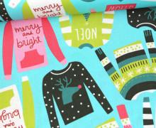 Baumwollstoff - Snugly Sweater - Bunte Sweatshirts - Cyanblau