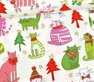 Baumwollstoff - Jingle Cats - Ecru