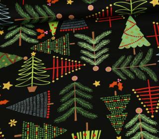 Baumwollstoff - Holiday Pines - Schwarz