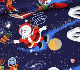 Baumwollstoff - Santa In Space - Dunkelblau
