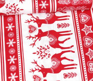 Baumwollstoff - Nordic Forest - Rentier Senkrecht - Rot/Weiß