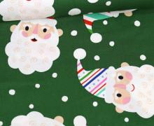Baumwolle - Webware - Candy Cane Kringle - Weihnachtsmanngesichter - Tannengrün