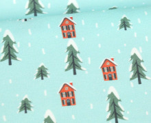 Sommersweat - Bio-Qualität - Percy Penguins Snow Adventure - Kombistoff - Türkis  - abby and me