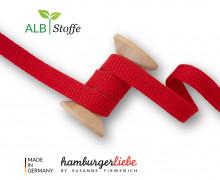 Hoodiekordel - Flachkordel - Cord Me - 12mm - Plain Stitches - Uni - Hamburger Liebe - Rot