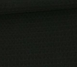 Waffel Piqué - Baumwolle - Uni - Schwarz
