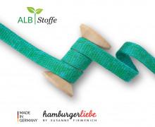 Hoodiekordel - Flachkordel - Cord Me - Melange - 12mm - Plain Stitches - Uni - Hamburger Liebe - Grün