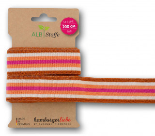 Streifenband - Stripe Me - College - 7Stripes - Plain Stitches - Multi - Hamburger Liebe - Orange/Pink/Glitzer