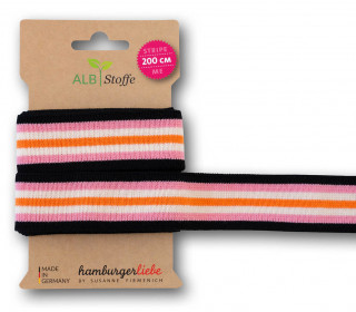 Streifenband - Stripe Me - College - 7Stripes - Plain Stitches - Multi - Hamburger Liebe - Schwarz/Rosa/Creme/Orange