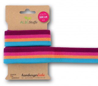 Streifenband - Stripe Me - College - 4Stripes - Plain Stitches - Multi - Hamburger Liebe - Beere/Pink/Orange/Himmelblau