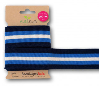 Streifenband - Stripe Me - College - 5Stripes - Plain Stitches - Multi - Hamburger Liebe - Dunkelblau/Blau/Creme