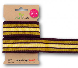 Streifenband - Stripe Me - College - 7Stripes - Plain Stitches - Multi - Hamburger Liebe - Bordeaux/Senfgelb/Gelb