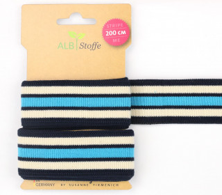 Streifenband - Stripe Me - College - 7Stripes - Plain Stitches - Multi - Hamburger Liebe - Nachtblau/Creme/Himmelblau
