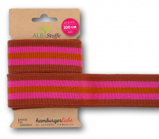 Streifenband - Stripe Me - College - 5Stripes - Plain Stitches - Multi - Hamburger Liebe - Rostorange/Pink/Hellbraun