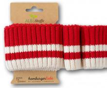 Bio-Bündchen - Cozy Stripes - Grobstrick - Plain Stitches - Multi - Cuff Me - Hamburger Liebe - Rot/Weiß