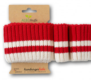 Bio-Bündchen - Cozy Stripes - Grobstrick - Plain Stitches - Multi - Cuff Me - Hamburger Liebe - Rot/Weiß