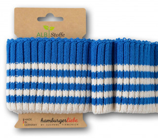 Bio-Bündchen - Cozy Stripes - Grobstrick - Plain Stitches - Multi - Cuff Me - Hamburger Liebe - Blau/Weiß