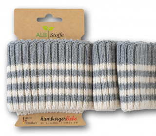 Bio-Bündchen - Cozy Stripes - Grobstrick - Plain Stitches - Multi - Cuff Me - Hamburger Liebe - Hellgrau/Weiß