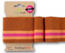 Bio-Bündchen - Ripped - 3Stripes - Plain Stitches - Multi - Cuff Me - Hamburger Liebe - Rostorange Glitzer/Apricot/Pink