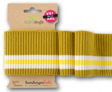 Bio-Bündchen - Ripped - 3Stripes - Plain Stitches - Multi - Cuff Me - Hamburger Liebe - Senfgelb/Creme/Gelb