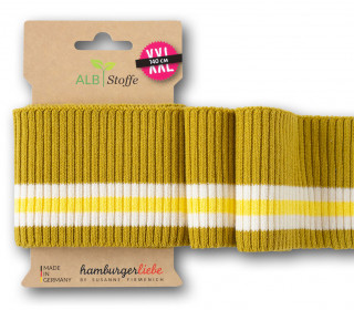 Bio-Bündchen - Ripped - 3Stripes - Plain Stitches - Multi - Cuff Me - Hamburger Liebe - Senfgelb/Creme/Gelb