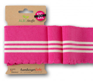 Bio-Bündchen - Wave - Wellenrand - 3Stripes - Plain Stitches - Multi - Cuff Me - Hamburger Liebe - Pink