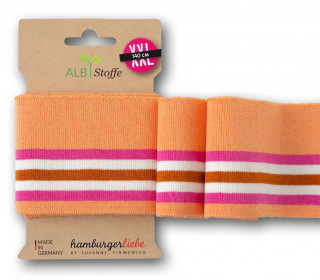 Bio-Bündchen - College - 5 Stripes - Plain Stitches - Multi - Cuff Me - Hamburger Liebe - Apricot