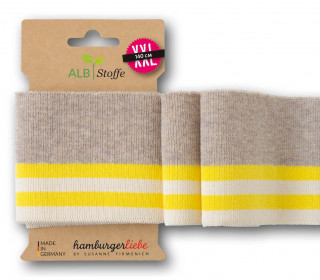 Bio-Bündchen - College - 4 Stripes - Plain Stitches - Multi - Cuff Me - Hamburger Liebe - Beige