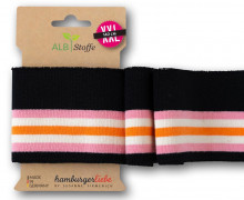 Bio-Bündchen - College - 5 Stripes - Plain Stitches - Multi - Cuff Me - Hamburger Liebe - Schwarz