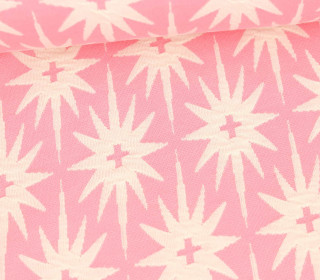 Bio-Jacquard Jersey - 3D Relief - All The Stars - Plain Stitches - Rosa/Warmweiß - Hamburger Liebe